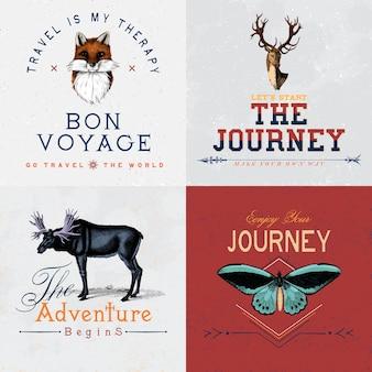 Collection of adventure logo design vectors