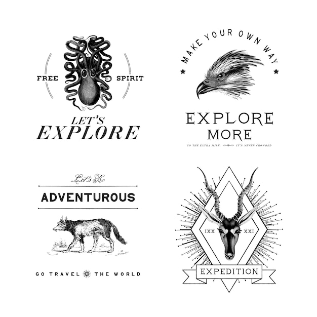 Collection of adventure logo design vectors