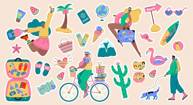 Collection of adventure tourism, travel abroad, summer vacation trip stickers, hiking and backpacking decorative design elements isolated on white background. flat cartoon colorful  illustration