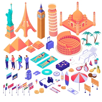 Collection of adventure touristic decorative design elements isometry graphic illustration