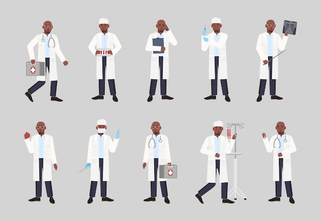 Collection of african american male doctor, physician or surgeon standing in different postures. bundle of black man dressed in white coat holding medical tools. flat cartoon   illustration.