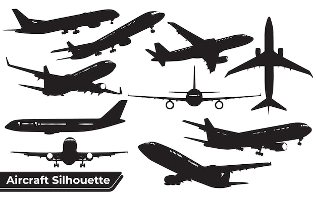 Collection of airplane black silhouettes