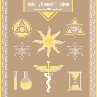 Collection of alchemy symbols in yellow color