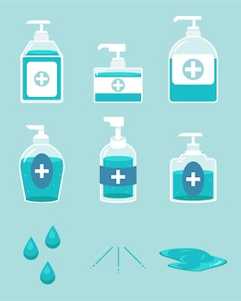 The collection of alcohol gel in the bottle and element of alcohol gel on the blue background.