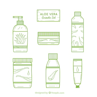 Collection of aloe vera product in linear style