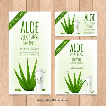Collection of aloe vera products banners