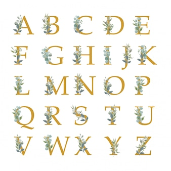 Collection of alphabet with watercolor style leaves
