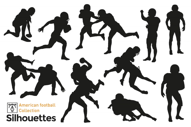 Collection of american football silhouettes
