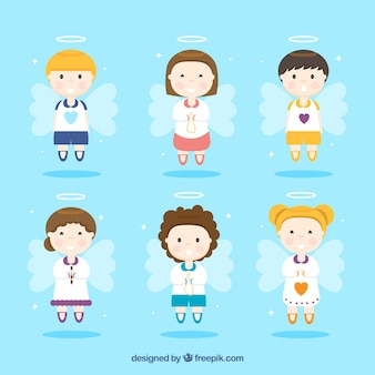 Collection of angels characters in flat design