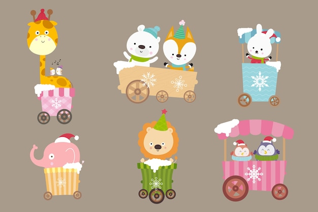 Collection of animal cartoon on the cart