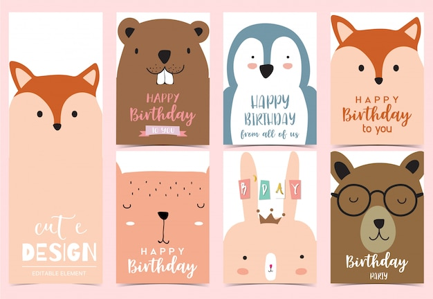 Collection of animal happy birthday cards set with bear, fox, squirrel, rabbit.
