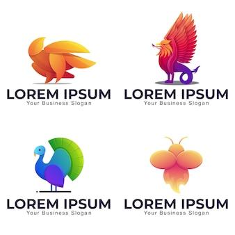 カラフルなスタイルのコレクション動物のロゴのテンプレート