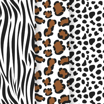 Collection of animal print seamless pattern template
