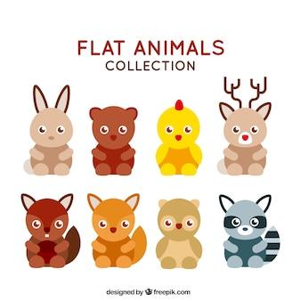 Collezione di animali in design piatto