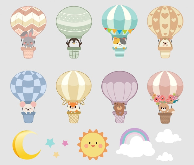 Collection of animals on hot air balloons