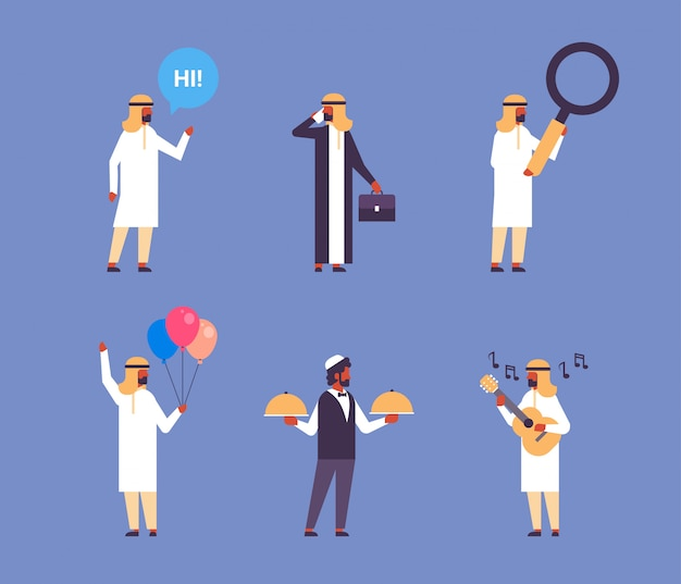 Collection of arabic people with different professions