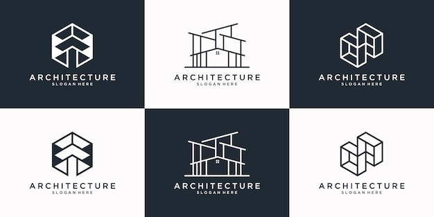Collection of architecture logo design template. minimalist building, real estate, renovation, home logo with line art style.