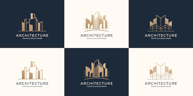 Collection of architecture logo set template construction building real estate modern design