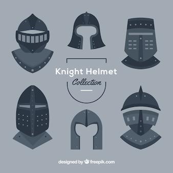 Collezione di casco da corazza in design piatto