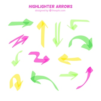 Collection of arrow made with highlighter