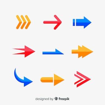 Collezione di frecce in diversi colori