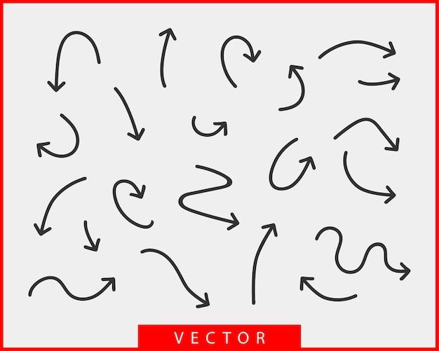 コレクションの矢印は、背景の黒と白のシンボルをベクトルします。別の矢印アイコンは、円、上、巻き、まっすぐ、ねじれを設定します。デザイン要素。