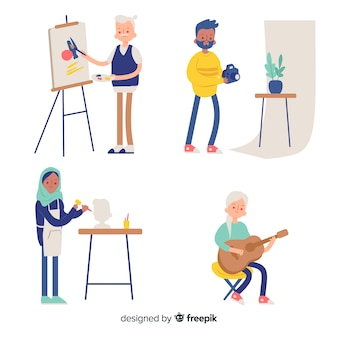 Collezione di artisti che svolgono il proprio lavoro