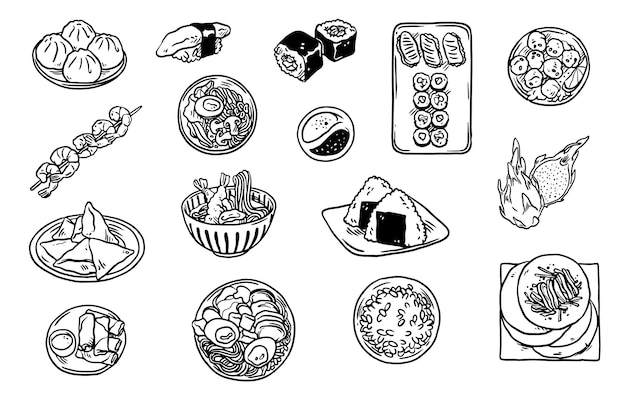 Collection of asian food doodles