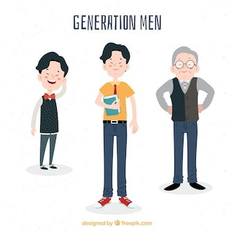 Collection of asian men in different ages