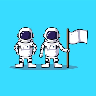 Collection of astronaut cartoon with flag