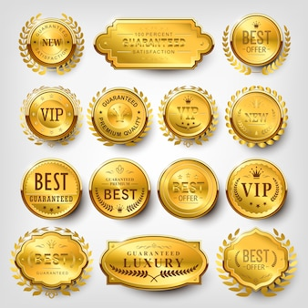 Collection of attractive golden labels design set