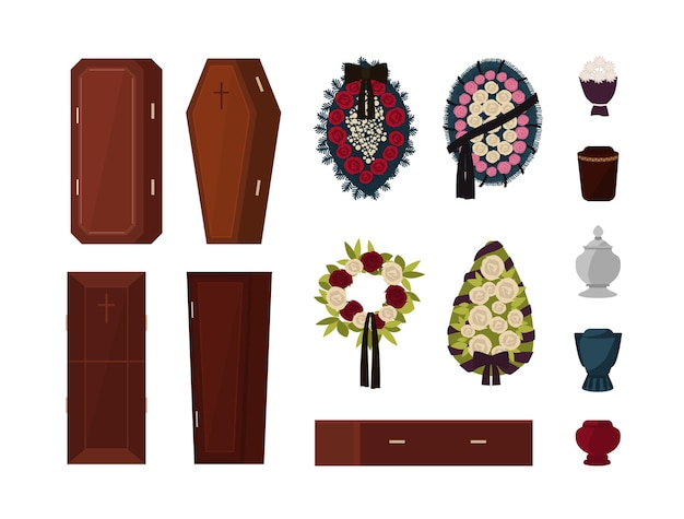 Collection of attributes for funeral, burial ceremony, mortuary rituals isolated - coffin, urn, wreath, bouquet of flowers