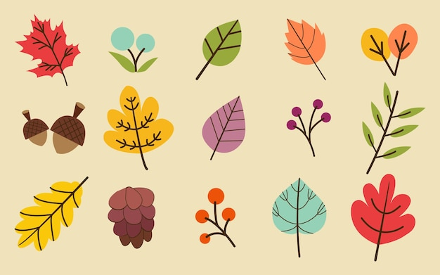 The collection of atumn or fall leaves in the yellow background set.