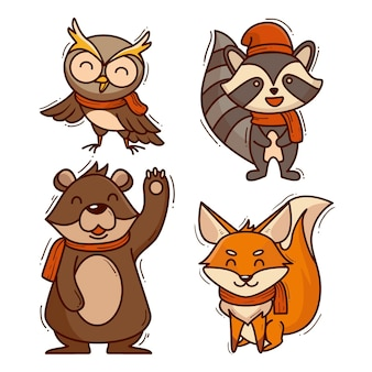 Collection of autumn animals