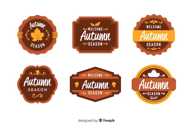 Collection of autumn badges flat design