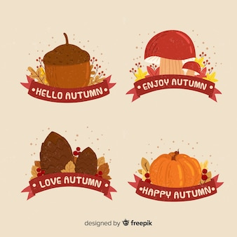 Collection of autumn badges hand drawn design