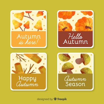 Collection of autumn badges watercolor design