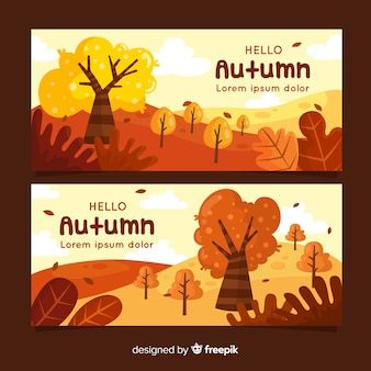 Collection of autumn banner flat style