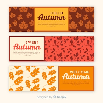 Collection of autumn banner retro style