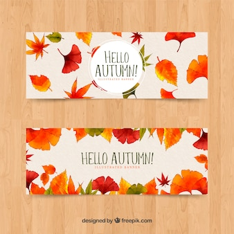 Collection of autumn banner watercolor style