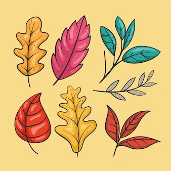 Collection of autumn drawn leaves