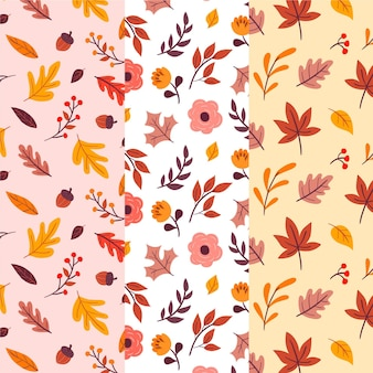 Collection of autumn drawn patterns