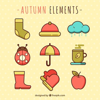 Collection of autumn elements in flat design