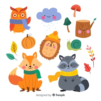 Collection of autumn forest animals flat design