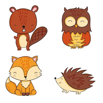 Collection of autumn forest animals