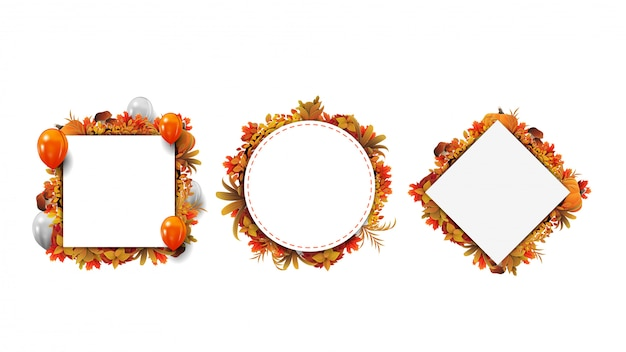 Collection of autumn geometric frames made of autumn leaves isolated