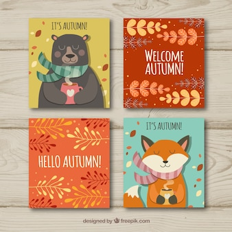 Collection of autumn greeting cards