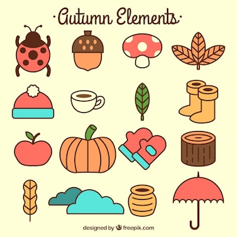 Collection of autumn items in flat style