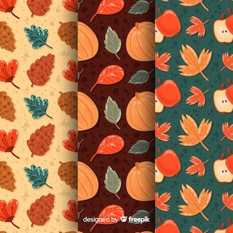 Collection of autumn pattern in flat design
