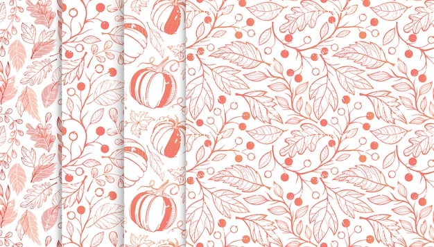 Collection of autumn patterns with leaves,berriess,pumpkins and floral elements.